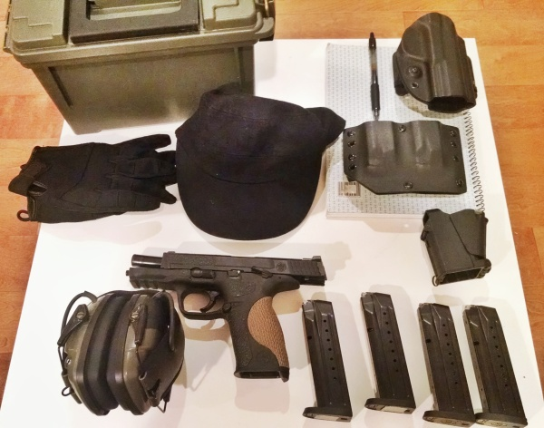 Gears used in class: M&P9 full-size (4 magazines), electronic ear pro, cap, gloves, G-code OSH holster, Bravo Concealment magazine carrier, speed loader (life safer!), ammo, notebook & pen